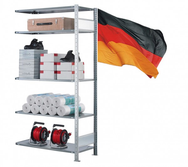 Lagerregal / Fachbodenregal, Anbauregal, beidseitig Nutzbar, Stecksystem 5 Ebenen komplett verzinkt 750mm 400mm