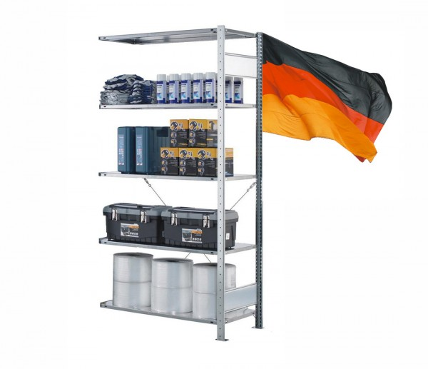 Lagerregal / Fachbodenregal, Anbauregal, einseitig Nutzbar, Stecksystem 5 Ebenen komplett verzinkt 750mm 400mm