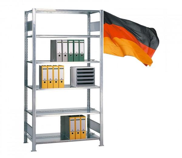 Büroregal / Ordnerregal, Grundregal, beidseitig Nutzbar, Stecksystem 5 Ebenen komplett verzinkt 750mm