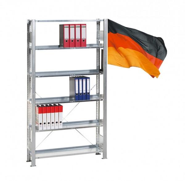 Büroregal, Ordnerregal, Grundregal, einseitig Nutzbar, Stecksystem 5 Ebenen komplett verzinkt 750mm