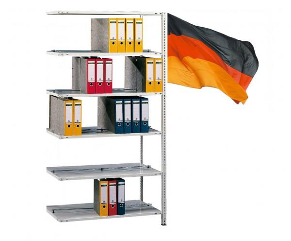 Büroregal / Ordnerregal, Anbauregal, beidseitig Nutzbar, Schraubsystem 5 Ebenen komplett verzinkt 750mm